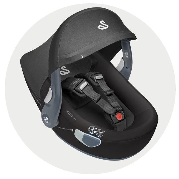 Image of car seat with the integrated canopy