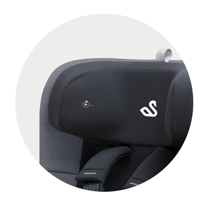 Headrest of i-Size car seat with eye level indicator