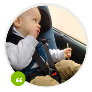 Swandoo tester using our car seat Marie